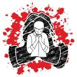 Man praying to God ,Prayer cartoon graphic. Vector royalty free illustration