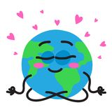 Planet Earth is meditating in the lotus position. Vector illustration stock illustration
