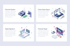Online Banking Vector Illustrations Set. Online banking illustrations is a pack of isometric vectors presenting banking and financial concepts in a dedicated vector illustration