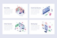 Online Banking Vector Illustrations Pack. Online banking illustrations pack is a pack of isometric vectors presenting banking and financial concepts in a vector illustration
