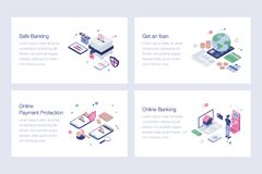 Set Of Online Banking Illustrations. Online banking illustrations set is a pack of isometric vectors presenting banking and financial concepts in a dedicated stock illustration