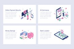 Set of Internet Banking Illustrations. Ebanking illustrations is a pack of isometric vectors presenting banking and financial concepts in a dedicated manner royalty free illustration