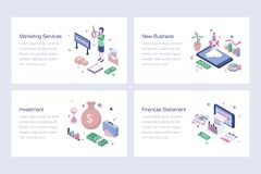 Pack Of Business Isometric Illustrations. Business isometric illustrations pack is best for your corporate design projects. Editable illustrations are best for vector illustration