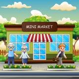 Cartoon people in front the mini market vector illustration