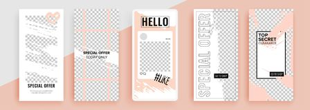 Trendy editable template for social networks stories, vector illustration. Design backgrounds for social media. stock illustration