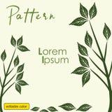 Print tree pattern green leaf vector illustration