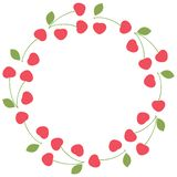 Round summer frame-wreath of fresh whole cherry berries with and without stalks and leaves on a white background. Template. stock illustration