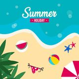 Happy summer holiday in  the beach illustration. Tropical holiday in summer illustration stock photos