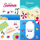 Happy summer holiday in  the beach illustration. Tropical holiday in summer illustration royalty free stock photography