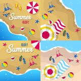 Happy summer holiday in  the beach illustration. Tropical holiday in summer illustration royalty free stock images