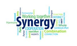 Synergy Word Cloud. On a white background royalty free stock images