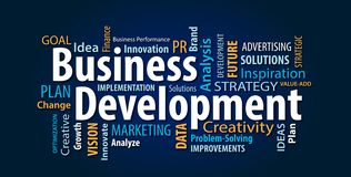 Blue Business Development Word Cloud vector illustration