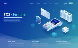 Online and mobile payments. POS terminal for contactless pay. Concept mobile payment, personal data protection. stock photography