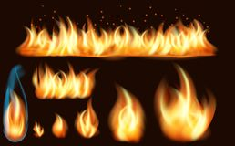 Fire flame realistic set of burning bonfires isolated on dark background. Collection of realistic fire flames royalty free stock images