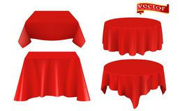 Red silk cloth covered table realistic set. Red silk cloth covered objects realistic set tablecloth. stock photography