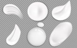 Set of cosmetic white cream texture. Cosmetic cream smears realistic icon set. Smears of thick white cosmetic cream. stock photos