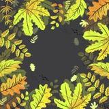 Autumn leaves frame background on black background vector illustration