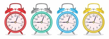 Metal Alarm Clock With Various Colors Vector Illustration stock illustration