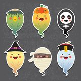 Cartoon Halloween ghosts - kappa river imp, jack o lantern, skeleton, witch, mummy and chinese zombie vector illustration