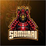Samurai warrior mascot logo design vector illustration