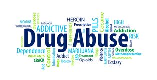 Drug Abuse Word Cloud. On a White Background royalty free illustration
