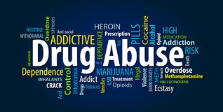 Drug Abuse Word Cloud. On a Blue Background vector illustration