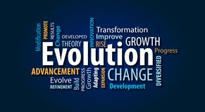 Evolution Word Cloud. On a Blue Background royalty free illustration