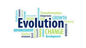 Evolution Word Cloud. On a White Background stock illustration