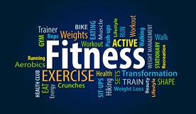 Fitness Word Cloud. On a Blue Background royalty free illustration