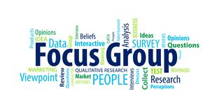 Focus Group Word Cloud. On a White Background vector illustration