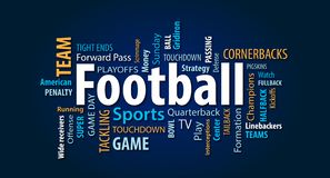 Football Word Cloud. On a Blue Background vector illustration