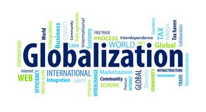 Globalization Word Cloud. On a White Background royalty free illustration