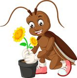 Funny Cockroach With Yellow Sunflower Cartoon. For Your Design stock illustration