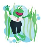 Happy business frog mascot in suit vector illustration