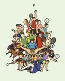 Sport Players, Different sports , Sport mix action cartoon graphic