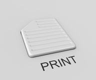 Print. Three-dimensional image - the button in the form of a sheet of paper with the inscription Print Stock Images