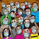 Confusing crowd people wearing mask for protection from virus. Cartoon crowd people with mask. Crowd people suspect  infection and fear each other