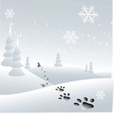 Print. Love puppy illustration with 3d footprint on the snow Stock Photos