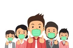 Covid-19 virus protection concept people wearing protective face masks illustration in cartoon style