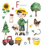 Farmer for F. Watercolor Alphabet Profession set.Learn letters with funny professions.Farmer for F letter.Perfect for education,baby shower,children prints