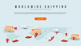 Worldwide shipping by air and sea fright transport. transportation route. geo tagging. modern dot world map with coy space concept