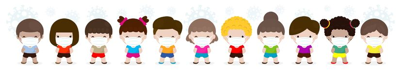 Coronavirus 2019-nCoV or Covid-19 disease prevention concept with group of cute kids boy and girl wearing face mask isolated
