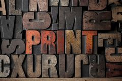 Print. The word 'Print' spelled out in very old letterpress blocks stock photos