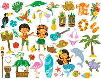 Hawaii Tropical Clipart set with kids
