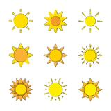 Sun icons collection, Doodle suns, Sun set cartoon, Vector illustration.
