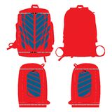 Sports Backpacks bags custom design mock ups templates illustration front and back  view red color