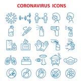 Covid 19 coronavirus, prevention outbreak disease pandemic virus icons set