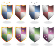 Print. Set of colorful steel shields, whit stars Royalty Free Stock Photography
