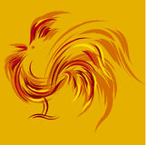 Print. Vector illustration of abstract fire rooster Stock Photos
