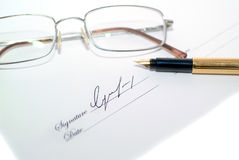 Print. Small print through a blurry pair of glasses Stock Photography